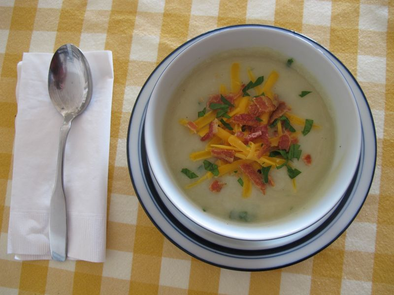 Cauliflower Soup with Cheddar and Bacon